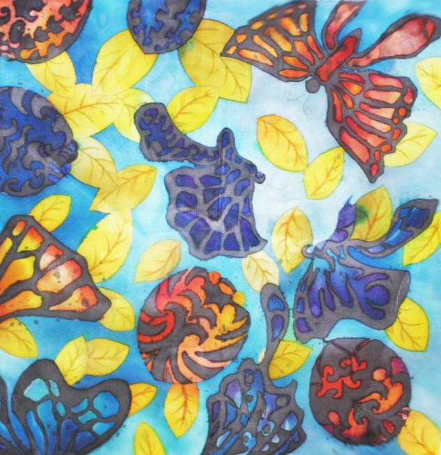 실크에 산성염료- butterfly